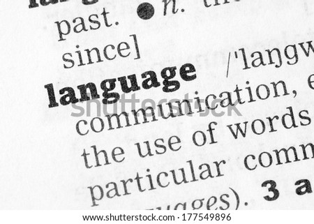 Language  Dictionary Definition single word with soft focus - stock photo