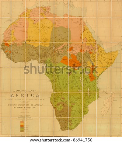 Language map of Africa  prepared by E G Ravenstein in 1883 - stock photo