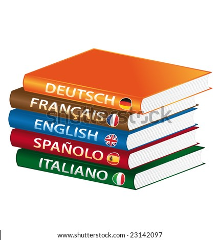 Languages books formation - stock photo