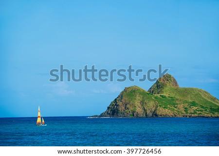 Lanikai Beach Twin Island on the windward coast of Oahu, Hawaii Vacation  - stock photo