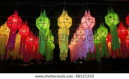 Lanna lantern festival decoration ,  Chiang Mai ,Thailand - stock photo