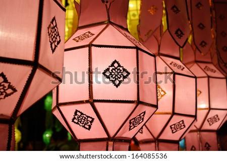 lanna lantern, thai lantern  in the nighttime - stock photo