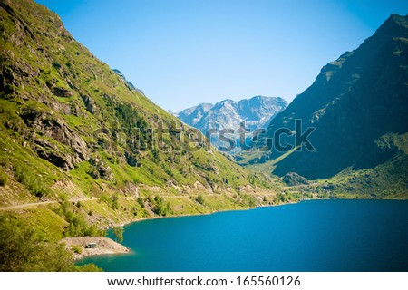 Lanscape panoramic view of Mountains and Lake in Pyrenees - stock photo
