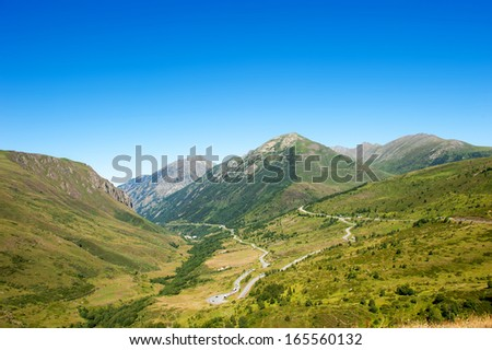 Lanscape panoramic view of Mountains in Pyrenees - stock photo