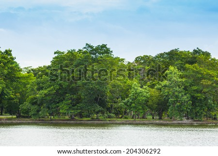 Lanscape Park Trees and Lake, Thailand - stock photo