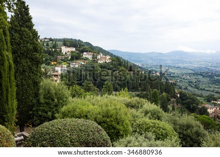 lanscape with Florence hills and specific houses seen from Fiesole - stock photo