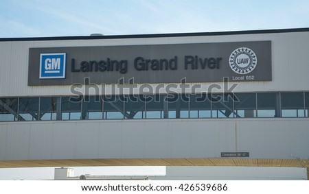 LANSING, MI - MARCH 26:  GM's Lansing Grand River Assembly plant, shown here on March 26, 2016, houses the Camaro, Cadillac CTS and Cadillac ATS vehicle families. - stock photo