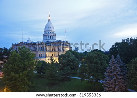 Lansing, Michigan  - elevated view of State Capitol Building  - stock photo