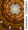 LANSING, MICHIGAN - JANUARY 14: Interior of the dome of the Michigan State Capitol building with Congress out of session on January 14, 2013 in Lansing, Michigan - stock photo