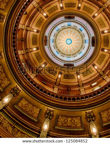 LANSING, MICHIGAN - JANUARY 14: Interior of the dome of the Michigan State Capitol building with Congress out of session on January 14, 2013 in Lansing, Michigan