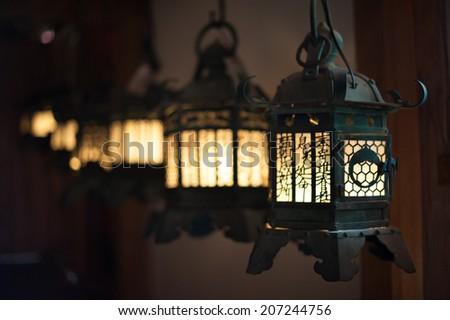 Lantern angle at Kasuga-taisha - stock photo