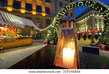 Lantern at a European Christmas market in Riga Dome square in front of the entrance to the market. December 28, 2014. Latvia