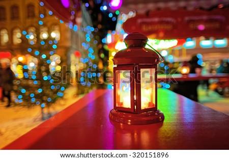 Lantern at the European Christmas market held at Livu Square. December 28, 2014. Old Town of Riga, Latvia  - stock photo