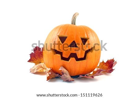 Lantern halloween pumpkin with autumn leaves. Autumn Leaves and Pumpkins. Autumn Leaves and Pumpkins isolated on white background. Autumn Leaves and Pumpkins on white. Autumn Leaves and Pumpkins. - stock photo