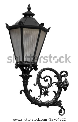 lantern. Isolated on white with clipping path - stock photo