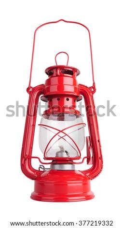 Lantern kerosene oil lamp, isolated on white background - stock photo