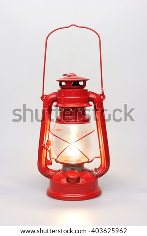 Lantern kerosene oil lamp, isolated on white background