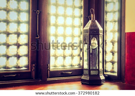 Lantern light lamps morocco style decoration - Vintage Filter - stock photo