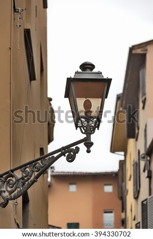 Lantern of lighting streets of Bologna, Italy, - stock photo