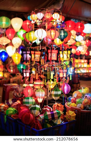 lantern shop in Hoi an, Vietnam - stock photo