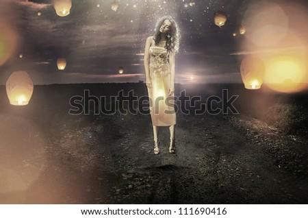 Lantern woman - stock photo