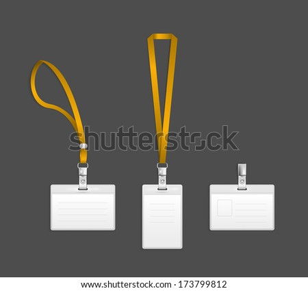 Lanyard, name tag holder end badge templates illustration - stock photo
