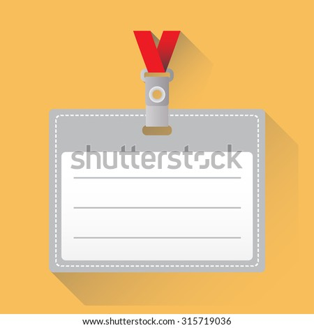 Lanyard with Tag Badge Holder or id card. Colorful icon or sign with long shadow.