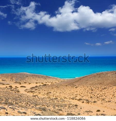 Lanzarote south Punta Papagayo sea in Canary Islands - stock photo