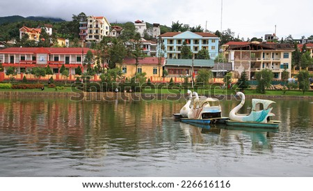 LAO CAI, VIETNAM - JULY 22, 2012: Lakeside view of sapa town. Sapa is a frontier town with China in Lao Cai Province in northwest Vietnam.