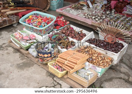 Lao cai, Vietnam - June 14, 2015: souvenir shop on street to Hamrong mountain on 14 June 2015. Lao cai, Vietnam