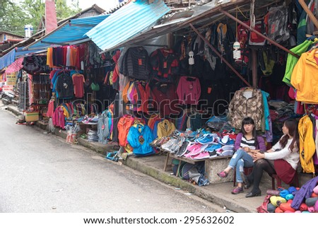 Lao cai, Vietnam - June 14, 2015: Unidentified ethnic minority women are selling souvenir on 14 June 2015. Lao cai, Vietnam
