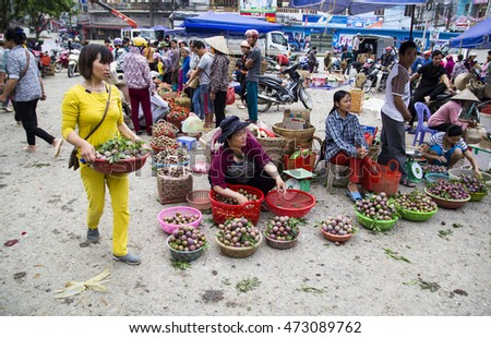 Laocai, Vietnam - May 28, 2016: Vietnamese vendor sale sweet plum at the local market in Vietnam.