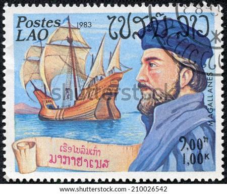 LAOS - CIRCA 1983: a postage stamp printed in Laos showing an image of Ferdinand Magallanes, circa 1983. - stock photo