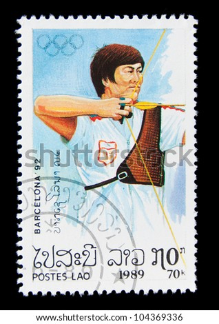 LAOS  - CIRCA 1989: A stamp printed in Laos shows archery, series Olympic Games in Barcelona 1992, circa 1989