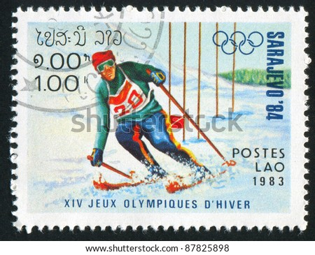 LAOS - CIRCA 1983: stamp printed by Laos, shows slalom, circa 1983.
