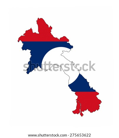 laos country flag map shape national symbol - stock photo