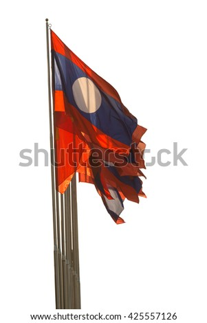 Laos flag waving isolated on white background.Clipping Path  - stock photo