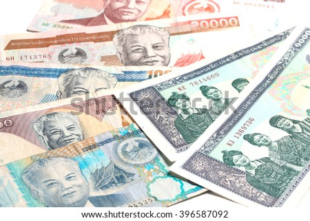 Laos money kip banknotes, LAK - stock photo