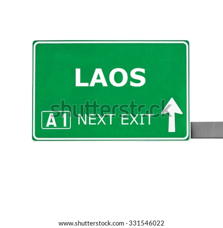 LAOS road sign isolated on white