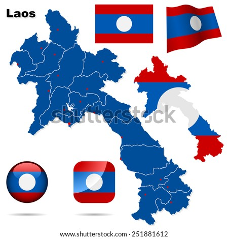 Laos set. Detailed country shape with region borders, flags and icons isolated on white background. - stock photo