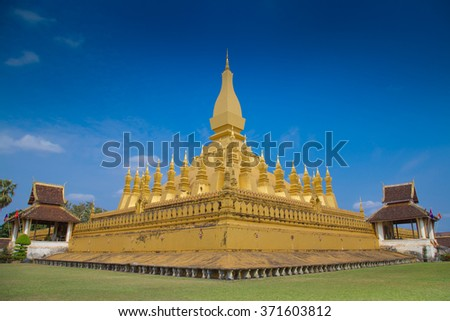 Laos temple is landmark at Vientiane city  the people called Phrathat Luang. - stock photo
