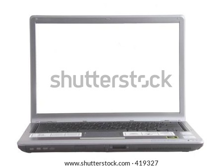 Lap Top Computer with white screen - stock photo