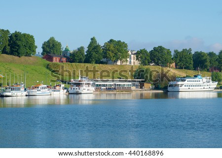 LAPPEENRANTA, FINLAND - AUGUST 09, 2015: A view of the customs house in the harbor of lake Saimaa on a summer day