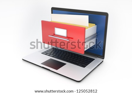 Laptop and archive box. 3D illustration