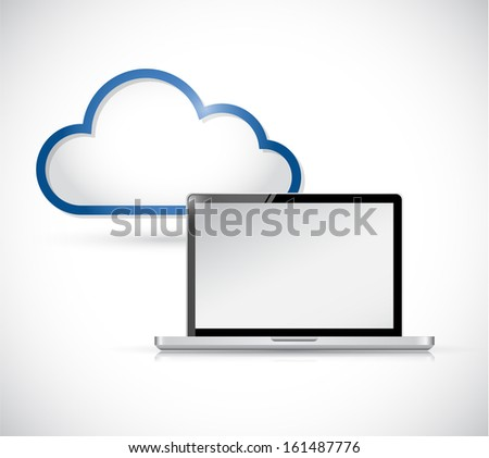 laptop and border storage cloud. illustration design over white
