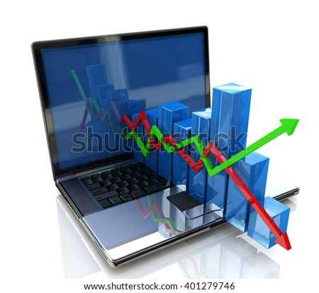 laptop and business chart. 3D rendered illustration - stock photo