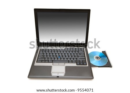 Laptop and cd-drive isolated on the white