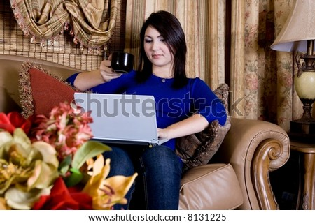 Laptop and coffee - stock photo