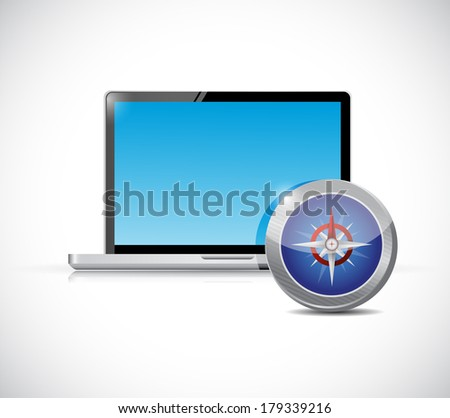 laptop and compass illustration design over a white background - stock photo