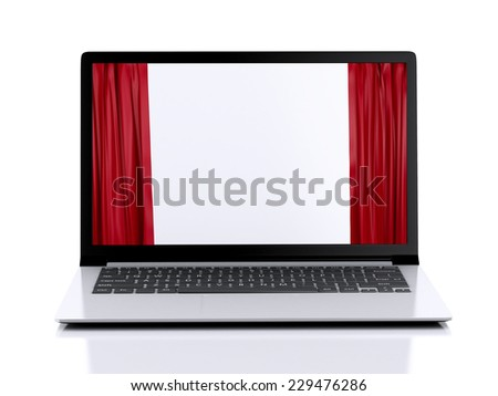 laptop and curtain on the screen. business concept. 3d illustration